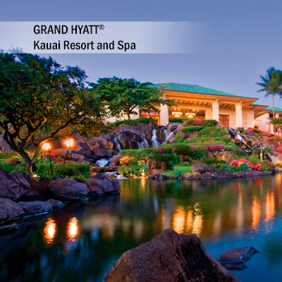 GRAND HYATT<sup>®</sup> Kauai Resort and Spa - Enjoy 5 days and 4 nights accommodation at the GRAND HYATT<sup>®</sup> Kauai Resort and Spa. Set along the white sands of Piopu, you will relax in your elegantly designed guest room. Create grand memories while you enjoy and explore 50 oceanfront acres of gardens, courtyards and pools .   Airfare not included.