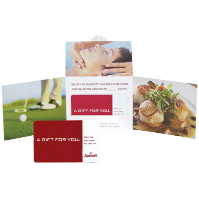 MARRIOTT<sup>&reg;</sup> $250 Gift Card - Massage for one ... or a tee-off for two? Spa, dining, regional specialties from skiing to snorkeling or merchandise from ShopMarriott.com.  With a $250 Gift Card, you will find a world of choices at one of Marriott's many hotels and resorts.