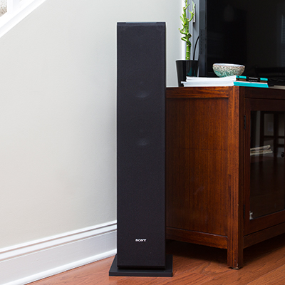 SONY<sup>&reg;</sup> SSCS3 3-Way Floor-Standing Speaker - Pair - This set of speakers delivers an unprecedented real audio experience. Each floor standing speaker features a 19mm wide dispersion super tweeter for high-resolution audio, a 2.5 cm soft dome tweeter and 13 cm MRC diaphragm woofer for deep bass.  145w maximum input power.