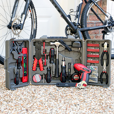 APOLLO <sup>&reg;</sup> Precision Tools 161-Piece Household Tool Kit - Take care of those home projects and repairs with this 161-piece tool kit.  Tools are heat-treated and chrome-plated. Kit includes a 4.8V cordless rechargeable screwdriver with charger, claw hammer, diagonal pliers, spring clamps, screwdrivers, pliers, magnetic level and more.